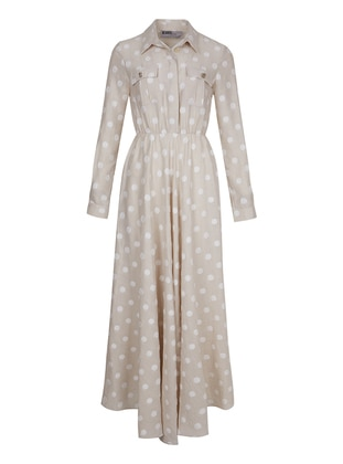 Beige - Polka Dot - Point Collar - Dress