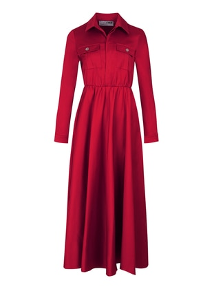 Maroon - Point Collar - Dress