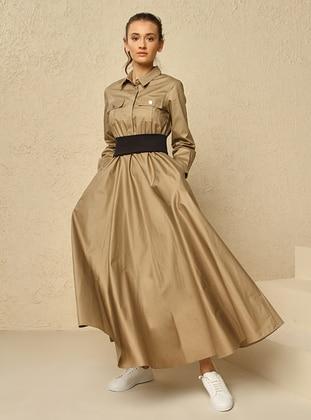 Camel - Point Collar - Dress