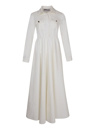 White - Ecru - Point Collar - Dress
