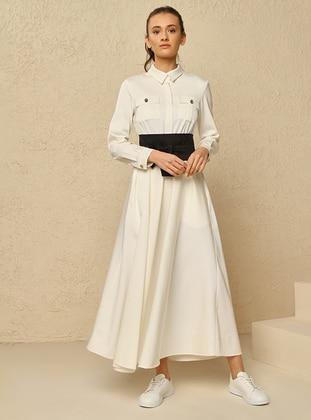 White - Ecru - Point Collar - Dress