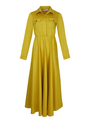 Yellow - Point Collar - Dress