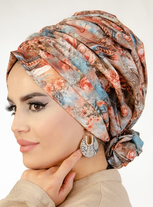 Tan - Floral - Instant Scarf
