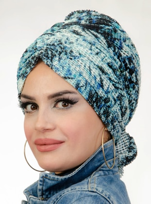 Blue - Printed - Instant Scarf