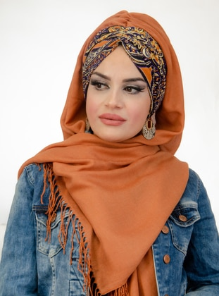 Tan - Ethnic - Instant Scarf