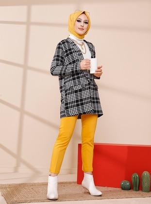 White - Black - Checkered - Unlined - Shawl Collar - Jacket