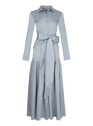 Gray - Point Collar - Unlined - Dress