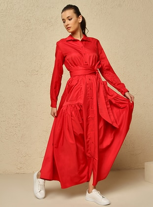 Red - Point Collar - Unlined - Dress