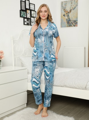 Blue - Multi - Pyjama Set
