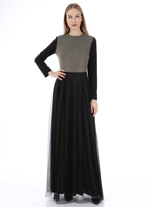 Gold - Black - Multi - Fully Lined - Crew neck - Modest Plus Size Evening Dress