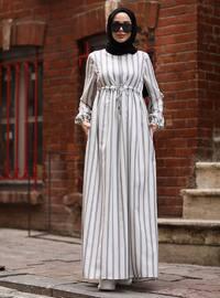 Ecru - Stripe - Round Collar - Modest Dress