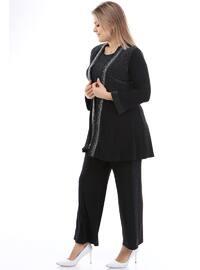 Silver tone - Crew neck - Plus Size Evening Suit