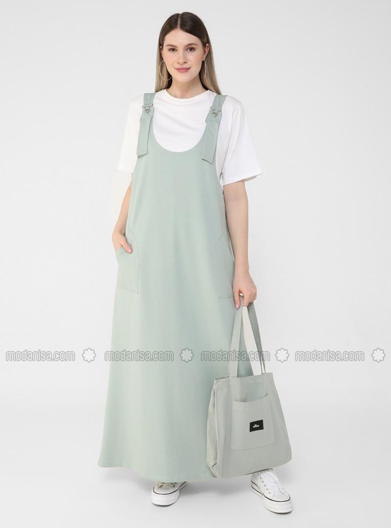 Sea-green - Unlined - Plus Size Dress