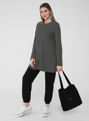 White - Black - Stripe - Crew neck - Plus Size Tunic