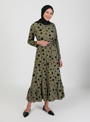 Khaki - Polka Dot - Crew neck - Unlined - Modest Dress