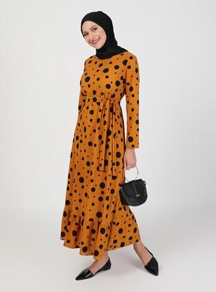 Mustard - Polka Dot - Crew neck - Unlined - Modest Dress