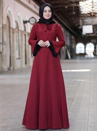 Maroon - Maroon - Unlined - Crew neck - Modest Evening Dress