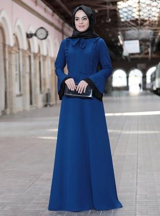 Indigo - Indigo - Unlined - Crew neck - Modest Evening Dress