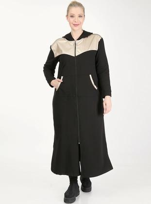 Gold - Black - Unlined - Plus Size Coat