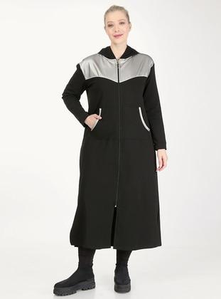 Silver tone - Black - Unlined - Plus Size Coat