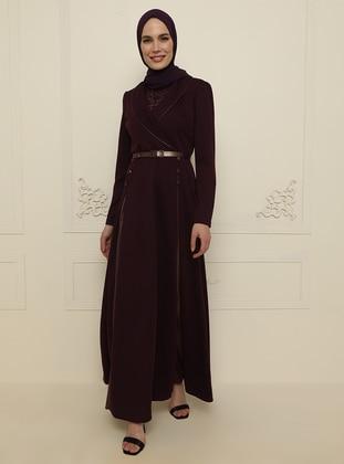Plum - Multi - Unlined - Shawl Collar - Modest Evening Dress