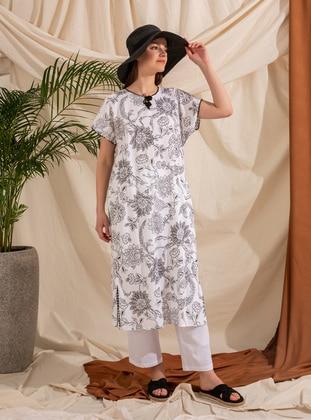 White - Multi - Crew neck - V neck Collar - Fully Lined - Modest Dress