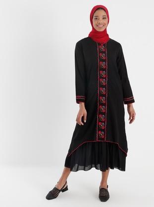 Black - Multi - Crew neck - Fully Lined - Modest Dress