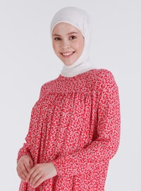 Red - Floral - Crew neck - Tunic