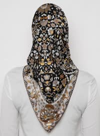 Gold - Black - Stone - Printed - Scarf