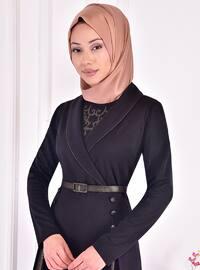Black - Multi - Unlined - Shawl Collar - Modest Evening Dress
