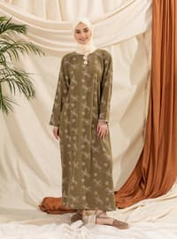 Green - Multi - Crew neck - Unlined - Modest Dress