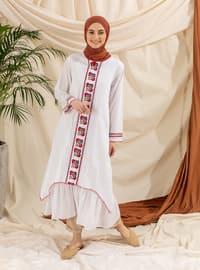 White - Multi - Crew neck - Fully Lined - Modest Dress