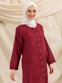 Maroon - Multi - Crew neck - Fully Lined - Modest Dress