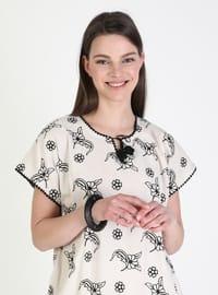 Stone - Multi - Crew neck - Unlined - Modest Dress