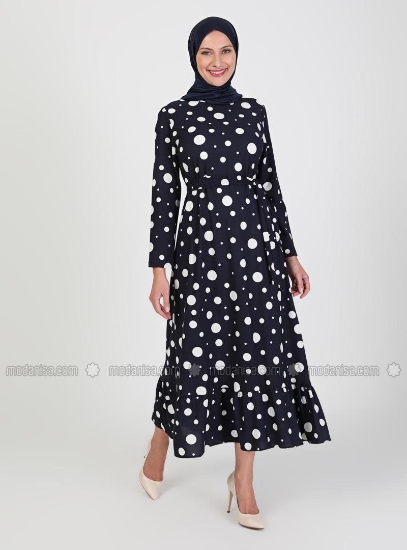 Navy Blue - Floral - Crew neck - Unlined - Modest Dress