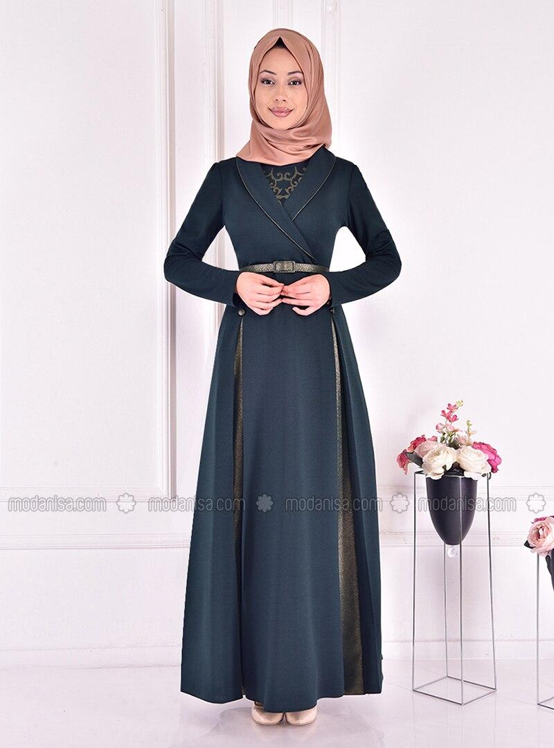 Emerald - Multi - Unlined - Shawl Collar - Modest Evening Dress