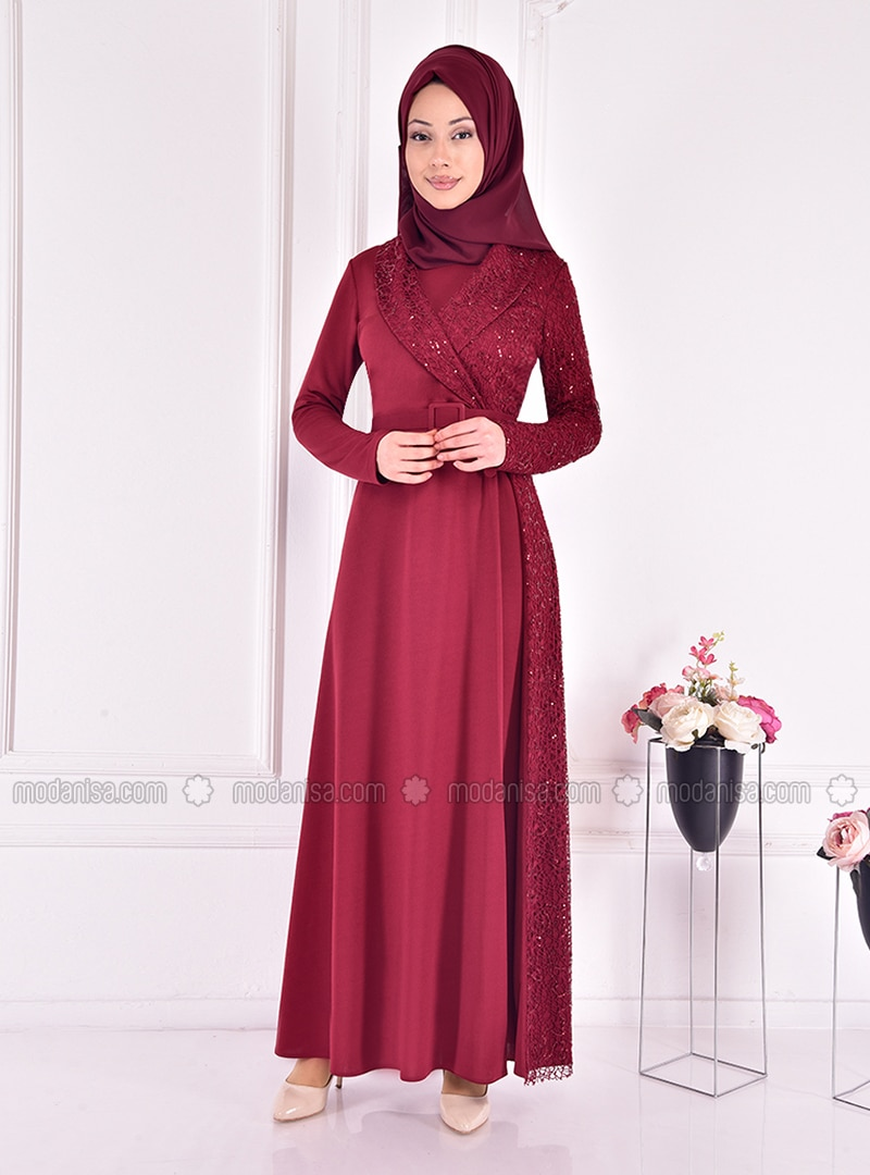 Maroon - Multi - Unlined - Shawl Collar - Modest Evening Dress