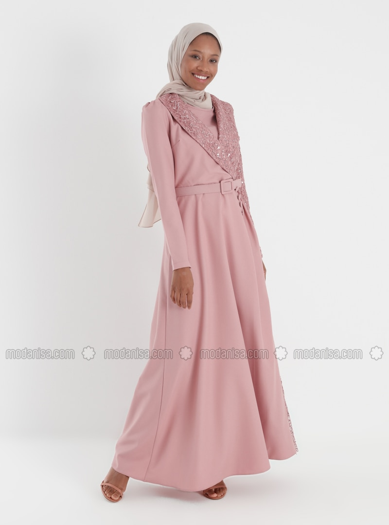 Dusty Rose - Multi - Unlined - Shawl Collar - Modest Evening Dress