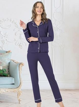 Navy Blue - Shawl Collar - Pyjama Set