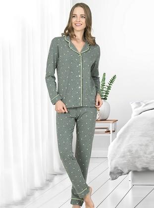 Multi - Shawl Collar - Multi - Pyjama Set
