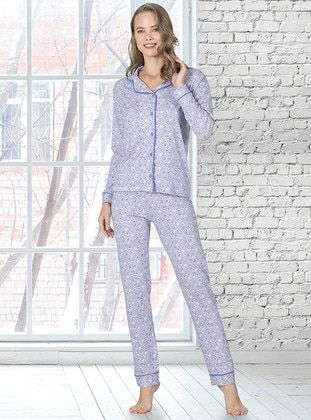 Lilac - Shawl Collar - Multi - Pyjama Set