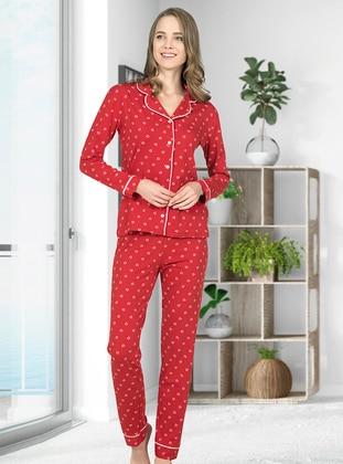 Red - Shawl Collar - Multi - Pyjama Set