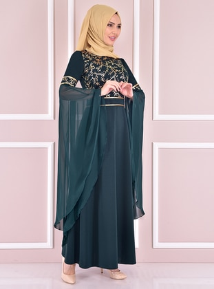 Emerald - Unlined - Crew neck - Modest Evening Dress