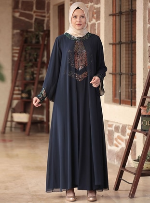 Navy Blue - Unlined - Crew neck - Modest Plus Size Evening Dress