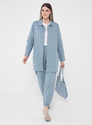Ice Blue - Point Collar - Unlined - Plus Size Jacket - Alia