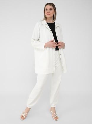 Ecru - Point Collar - Unlined - Plus Size Jacket - Alia