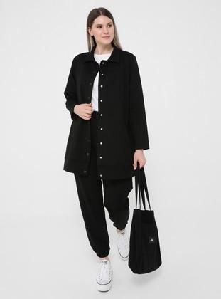 Black - Point Collar - Unlined - Plus Size Jacket - Alia