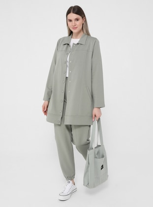 Olive Green - Point Collar - Unlined - Plus Size Jacket - Alia
