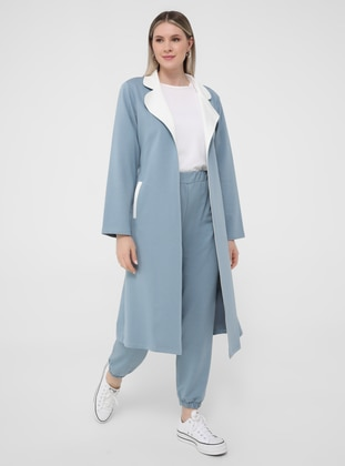 White - Ice Blue - Ecru - Unlined - Shawl Collar - Plus Size Coat
