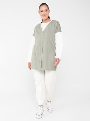 Olive Green - Green - V neck Collar - Plus Size Cardigan
